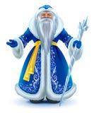 Заморозок деда Санта Клауса русского в голубой меховой шыбе иллюстрация штока