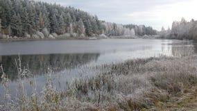 Заморозок утра в октябре на пруде мельницы Деревня Bugrovo, Pushkinskie окровавленное видеоматериал