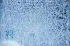 Заморозок льда зимы, который замерли предпосылка замороженное textur стекла окна Стоковые Фото