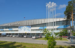Заморозьте дворец Сибирь спорт в Новосибирске, России Стоковое Изображение RF