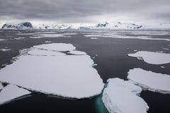 Заморозьте в Антарктике с айсбергом в океане стоковое фото rf