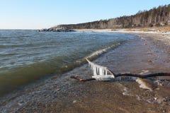 Заморозьте формировать на реке в осени, резервуаре Ob, Сибире, Russi стоковые изображения rf