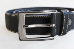 Замотка кожаного пояса пряжки черная стоковое фото rf