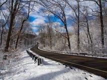 Замотка проселочной дороги через лес в зиме Стоковые Изображения RF