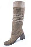 Замша женщин boots коричневый цвет Стоковое Изображение