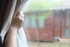 Занавесы отверстия руки женщины в спальне с капелькой дождя на стекле, естественном свете и запачканной предпосылке сада с тексто стоковые изображения