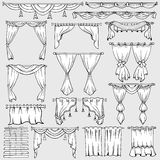 Занавесы, рулонные шторы и значки вектора drapery иллюстрация штока