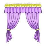 Занавесы с drapery на карнизе Занавесы определяют значок в сети иллюстрации запаса символа вектора стиля шаржа бесплатная иллюстрация