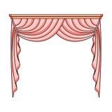 Занавесы с drapery на карнизе Занавесы определяют значок в эксперте стиля шаржа, сеть иллюстрации запаса символа поэлементного ка иллюстрация вектора