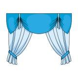 Занавесы с drapery на карнизе Занавесы определяют значок в эксперте стиля шаржа, сеть иллюстрации запаса символа поэлементного ка иллюстрация штока