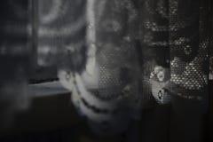 Занавесы шнурка вися на силле окна стоковые фото