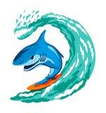 заниматься серфингом акулы иллюстрация штока