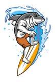 заниматься серфингом акулы иллюстрация вектора