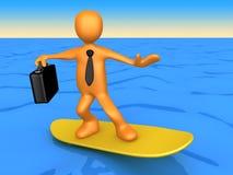заниматься серфингом бизнесмена иллюстрация вектора