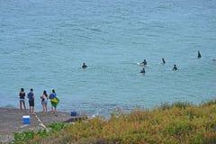 Заниматься серфингом время на заливе NSW Jervis - Австралии Стоковое фото RF