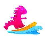 заниматься серфингом дракона иллюстрация штока