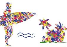 заниматься серфингом плаката Стоковые Изображения RF