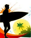 заниматься серфингом плаката Стоковое Изображение RF