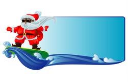 Заниматься серфингом Santa Claus иллюстрация штока