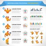 Занимаясь культуризмом полигональное Infographics Стоковое Изображение