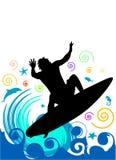 занимаясь серфингом вектор Стоковая Фотография RF
