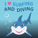 Занимаясь серфингом и ныряя тема лета с немногим Стоковые Изображения