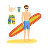 Занимаясь серфингом иллюстрация вектора мальчика Стоковая Фотография RF
