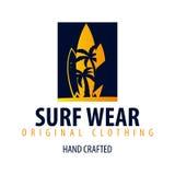 Занимаясь серфингом логотип и эмблемы для прибоя бьют или ходят по магазинам также вектор иллюстрации притяжки corel Стоковая Фотография RF