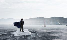 Занимаясь серфингом море на ледяном поле Мультимедиа Стоковое фото RF