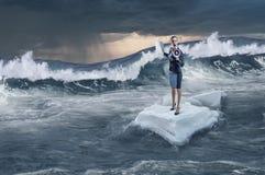 Занимаясь серфингом море на ледяном поле Мультимедиа Стоковые Изображения RF