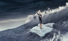 Занимаясь серфингом море на ледяном поле Мультимедиа Стоковое Фото