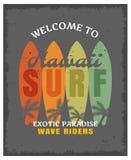 Занимаясь серфингом печать или плакат бесплатная иллюстрация