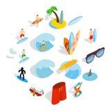 Занимаясь серфингом установленные isons, равновеликий стиль 3d Стоковые Фото