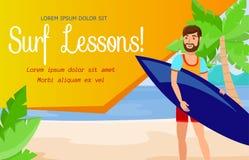 Занимаясь серфингом школа и активный шаблон знамени остатков бесплатная иллюстрация