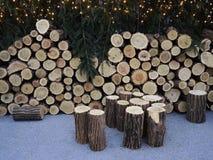 Заново валить стог тимберса древесины для огня в зиме Стоковые Изображения