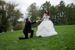 Заново пожененная пара стоит в поле Стоковые Изображения RF