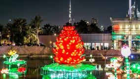 Заново раскрытый день сада зарева Дубай к timelapse ночи положение архитектуры искусства отличая окружающей средой дружелюбной акции видеоматериалы