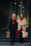 Занятая женщина 2 идя на улицу, говоря друг с другом Стоковые Фото