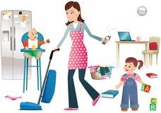 Занятая мать и дети иллюстрация вектора