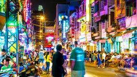 Занятая ночная жизнь в высоком городе Minh хиа Стоковая Фотография RF