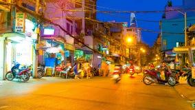 Занятая улица ночи в Хошимине Стоковые Изображения
