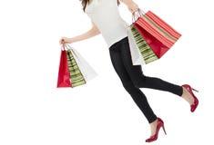 Занятая ходя по магазинам женщина Стоковое Изображение