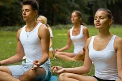 Занятия йогой Группа людей размышляя на парке лета Стоковое Изображение