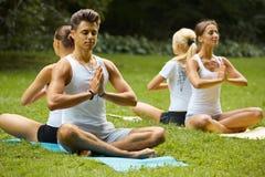 Занятия йогой Группа людей размышляя на парке лета Стоковые Изображения RF