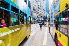 Занятое движение на королях Дороге в Гонконге Стоковые Изображения