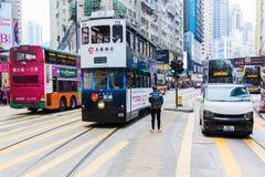 Занятое движение на королях Дороге в Гонконге Стоковая Фотография