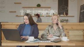 Занятые женщины используя устройства работая удаленно в кафе видеоматериал