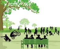 Занятый зеленый парк с много людей Стоковая Фотография RF
