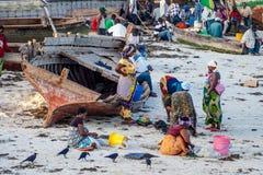 Занятый пляж когда рыбацкая лодка возвратит Стоковое Фото