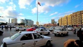 Занятый Al Tahrir Midan в Каире сток-видео